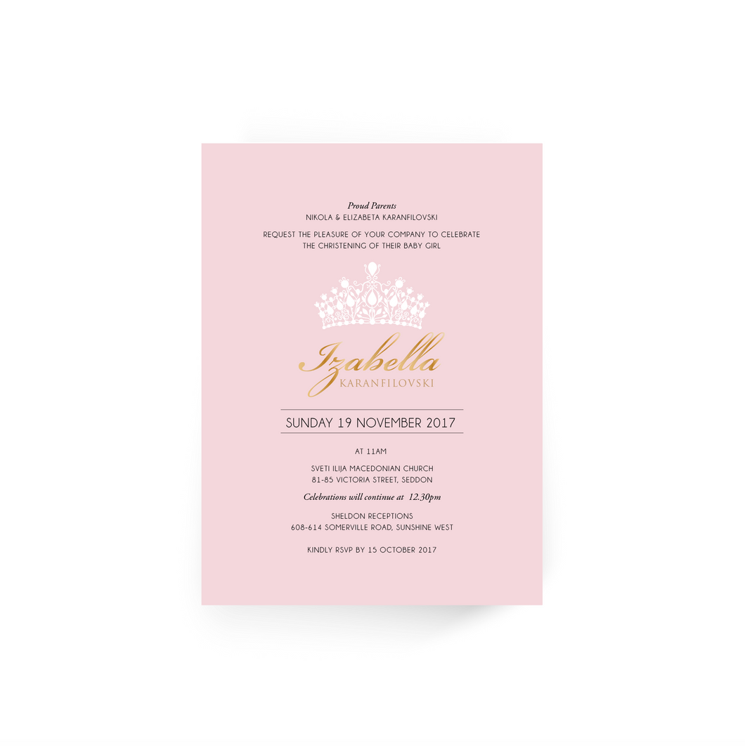 'Izabella' Baby Christening Invitation