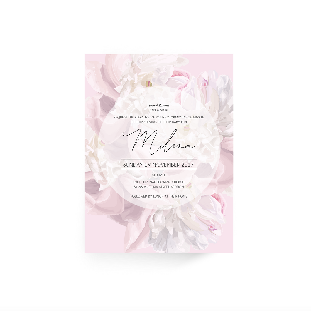 'Milana' Baby Christening Invitation