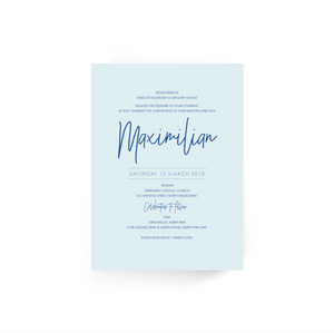 'Maximilian' Baby Christening Invitation