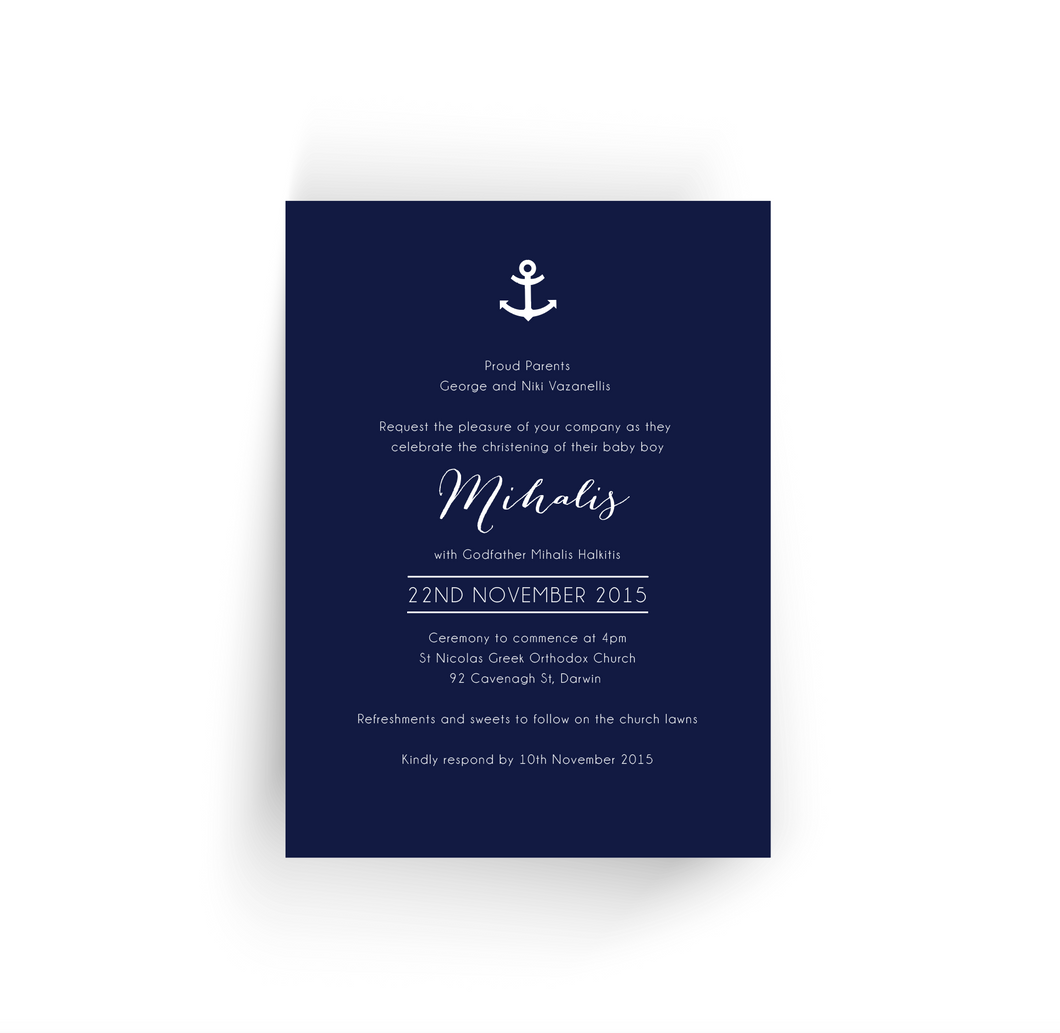 'Mihalis' Baby Christening Invitation
