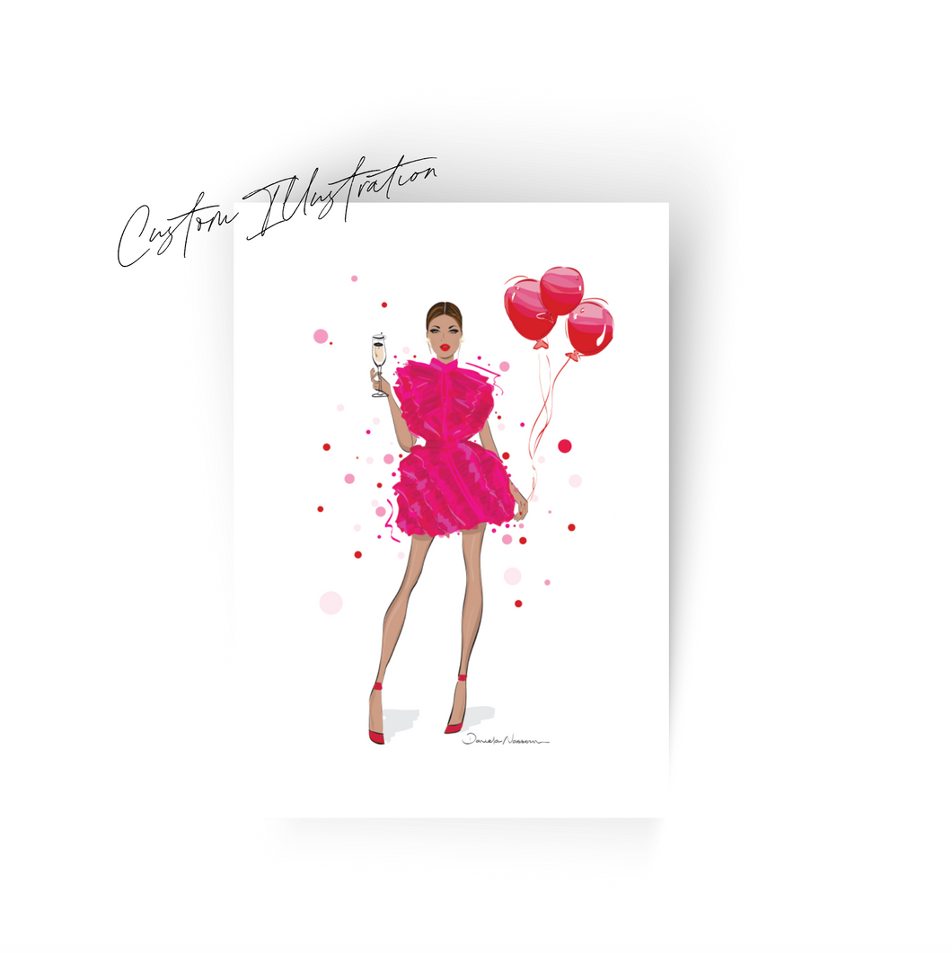 Illustration Bridal Shower | Birthday Invitations