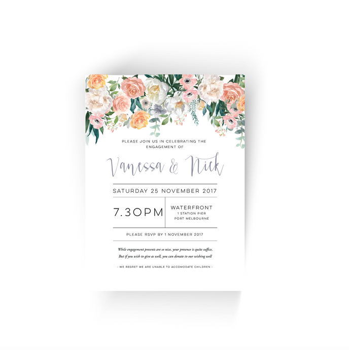 'Vanessa' Floral Engagement Invitation