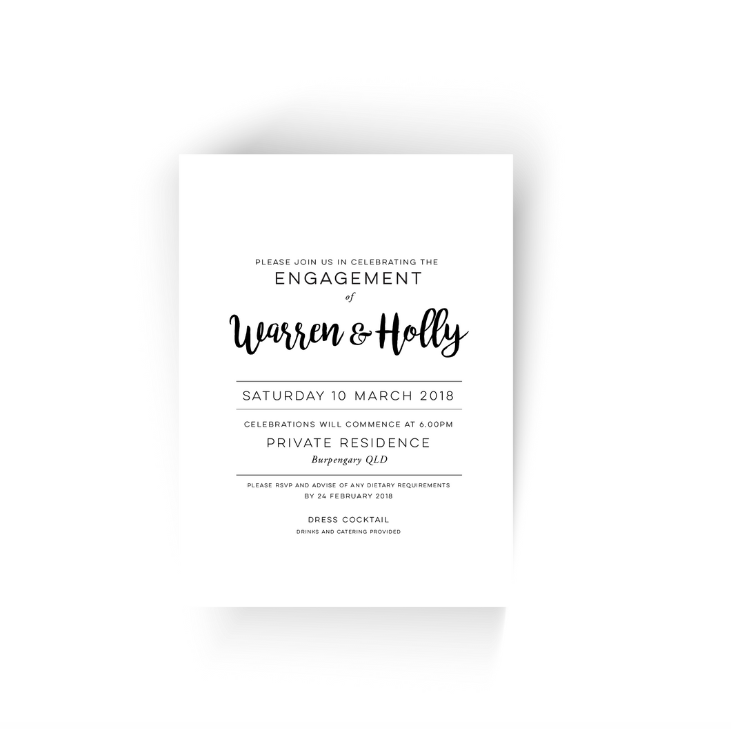 'Holly' Engagement Invitation