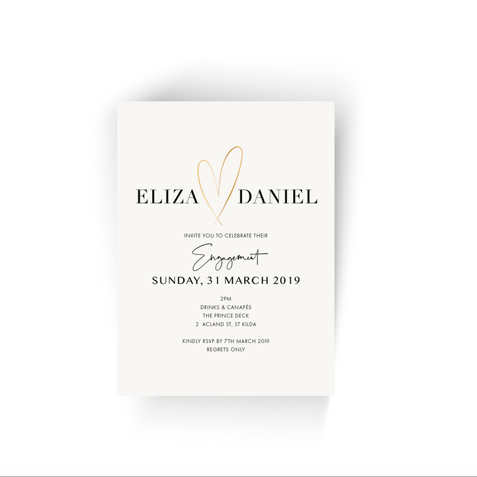 'Eliza' Heart Engagement Invitation
