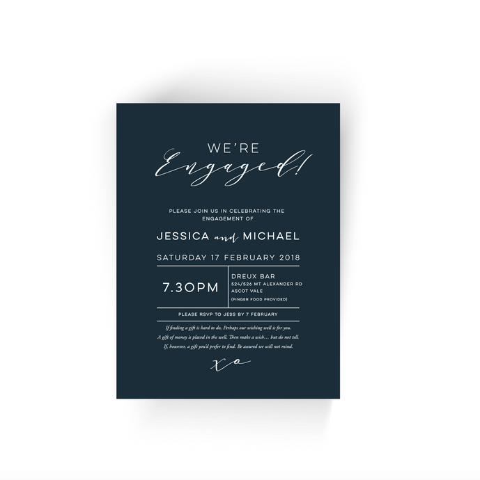 'Jessica' Modern Engagement Invitation