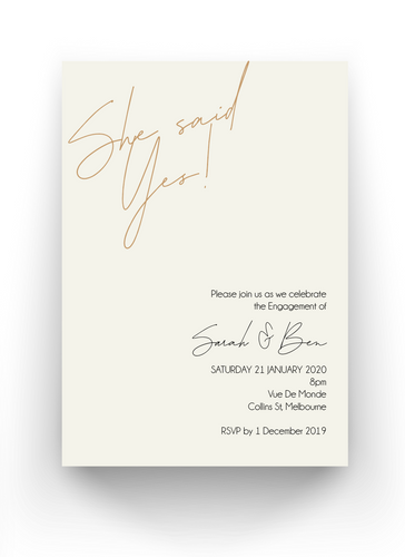She Said Yes - Engagement Invitation