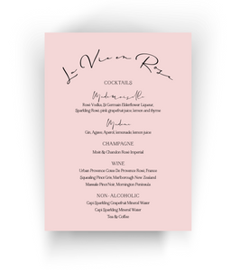 Drinks Menu | Bridal Shower | Wedding | Baby Shower