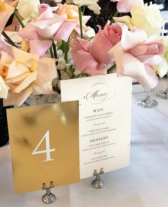 Mirror Gold Table Numbers