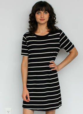 Black Stripe Lace-Up Swing Dress