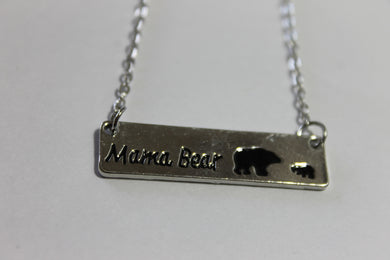 Mama Bear Bar Necklace- Silver
