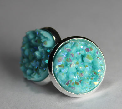 Light Aqua Druzy Earrings
