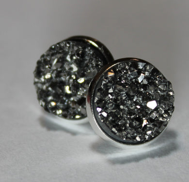 Pewter Druzy Earrings