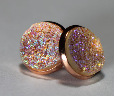 Iridescent Blush Druzy Earrings