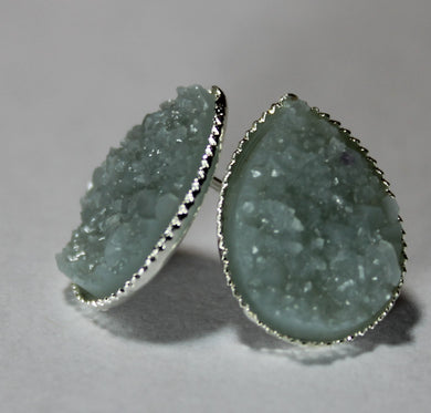 Grey Blue Teardrop Druzy Earrings