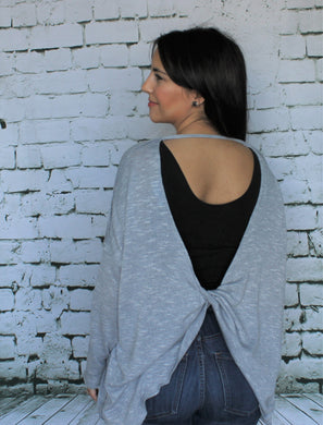 Low Back Dusty Blue/Grey Sweater