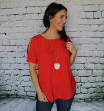 Coral Red Lace-up Blouse