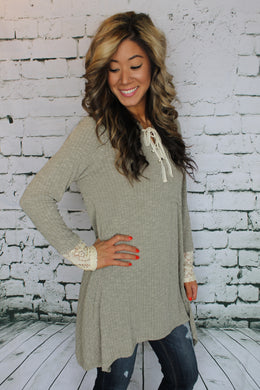 Olive Lace Hooded Tunic