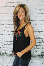 Black Floral Embroidered Tank