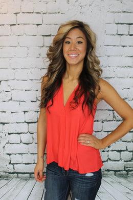 Coral Red Sleeveless Blouse