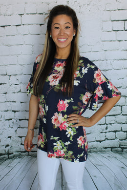 Floral Ruffle Sleeve Tunic