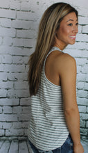 Cream and Black Striped Tank Top