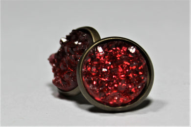 Red Druzy Earrings