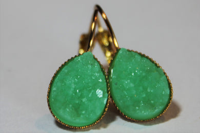 Kelly Green Drop Druzy Earrings