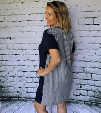 Navy Dress with Contrasting Stripes