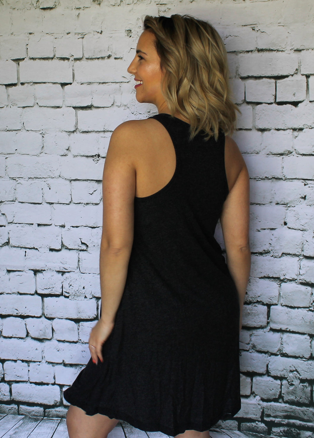 Charcoal Racerback Swing Dress
