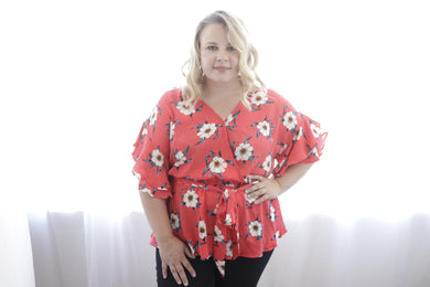 52b3c8661161 Red Floral Wrap Top
