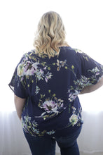 Navy Floral Twist Top
