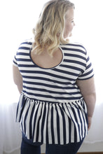 Navy Striped Peplum Top