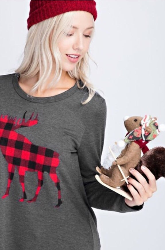 Charcoal Buffalo Plaid Moose Top