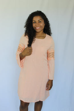 Apricot Bell Sleeve Dress