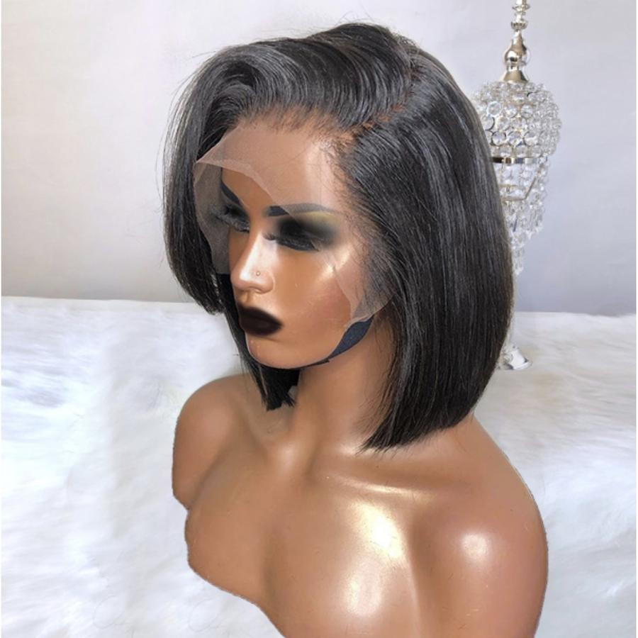 【NEW IN】C Part Feather Bang Straight Brazilian Virgin Hair Lace Front Short Bob Wigs