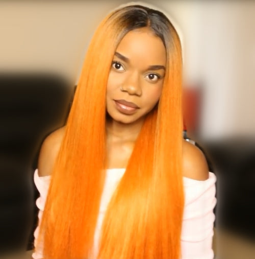 Rechoo Dark Root Orange Silky Straight Synthetic Lace Front Wig
