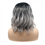 Rechoo Ombre Black/Grey Bob Body Wavy Synthetic Wigs