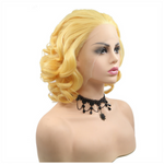 Rechoo Blond Bob Curly Synthetic Wigs