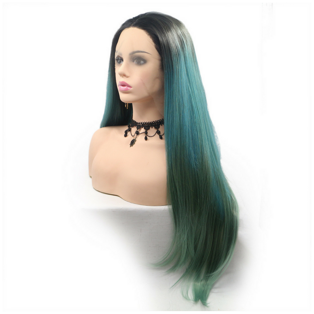 Rechoo Mermaid Ombre Silky Straight Synthetic Lace Front Wig