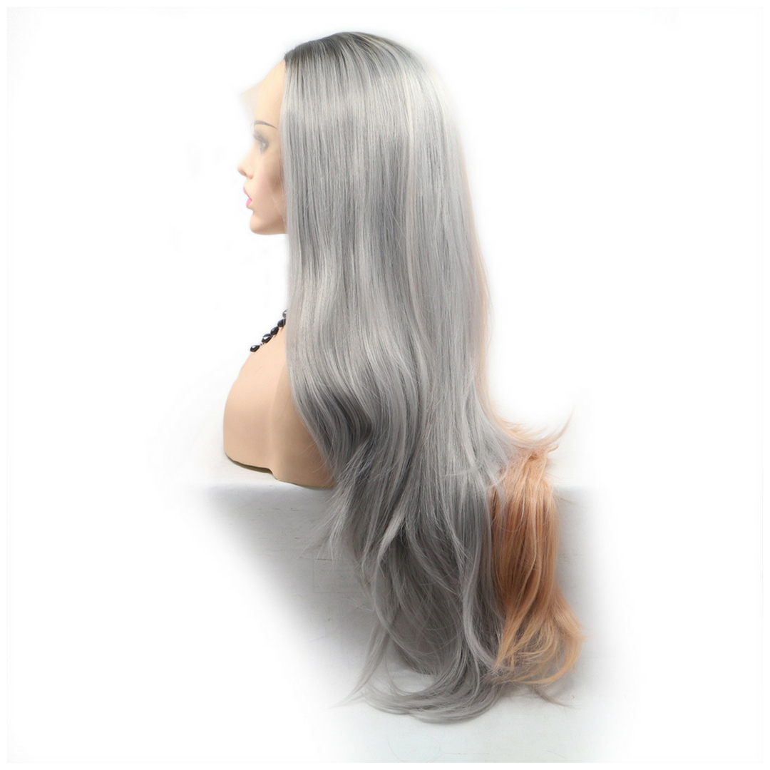 Rechoo Rose Gold Grey Ombre Wavy Synthetic Lace Front Wig