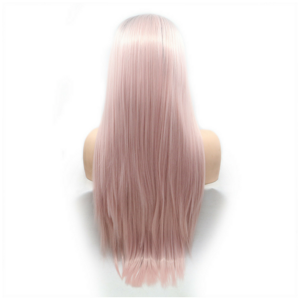 Rechoo Light Pink Ombre Silky Straight Synthetic Lace Front Wig