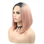 Rechoo Ombre pink Bob Synthetic Lace Front Wigs