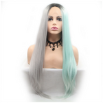 Rechoo Green/Grey Silky Straight Synthetic Lace Front Wig