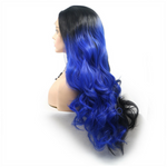 Rechoo Black/Blue Ombre Body Wavy Synthetic Lace Front Wig