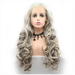 Rechoo Blonde Blend Brown Highlight Color Hair Curly Synthetic Lace Front Wigs