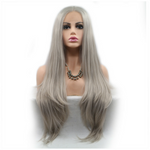 Silver Grey Long Straight Synthetic Lace Front Wig