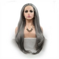 Rechoo Dark Grey Long Synthetic Lace Front Wig