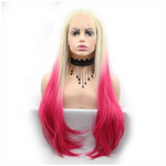 Rechoo Blonde/Pink Straight Long Synthetic Lace Front Wig