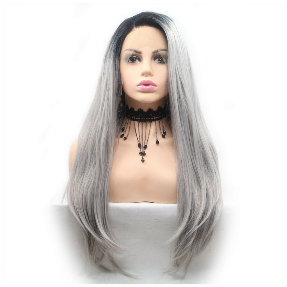 Rechoo Dark Root Grey Straight Long Synthetic Lace Front Wig