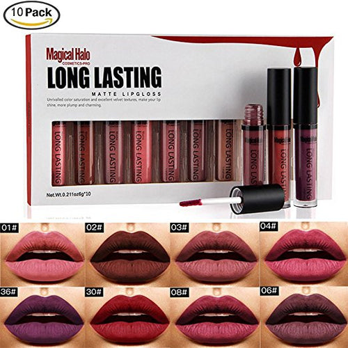 10 Wonderful Colors Waterproof Long Lasting Matte Lip Gloss Lipstick Makeup